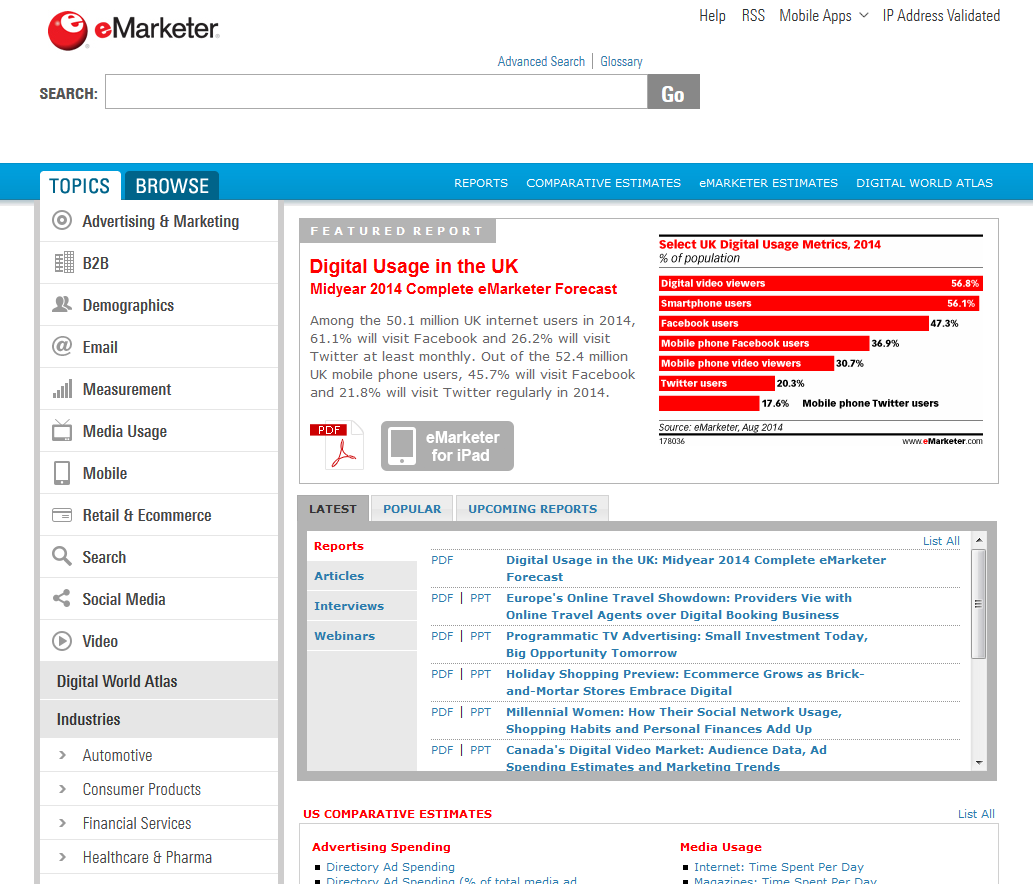 List Of eMarketer Sources  eMarketer