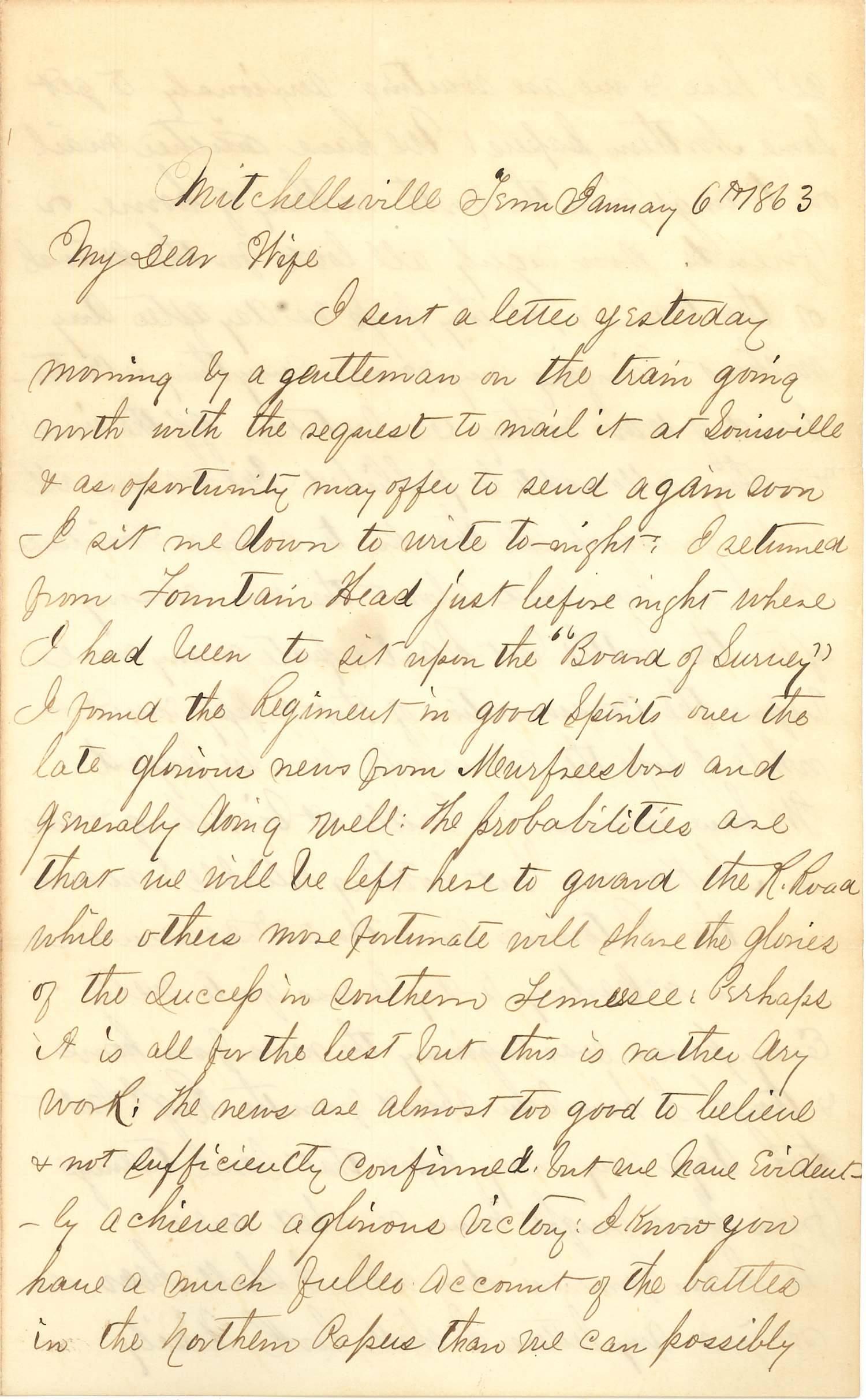 Joseph Culver Letter, January 6, 1863, Page 1
