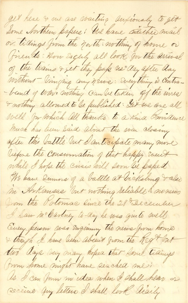 Joseph Culver Letter, January 6, 1863, Page 2