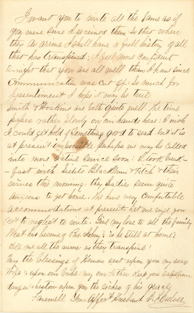 Joseph Culver Letter, January 6, 1863, Page 3