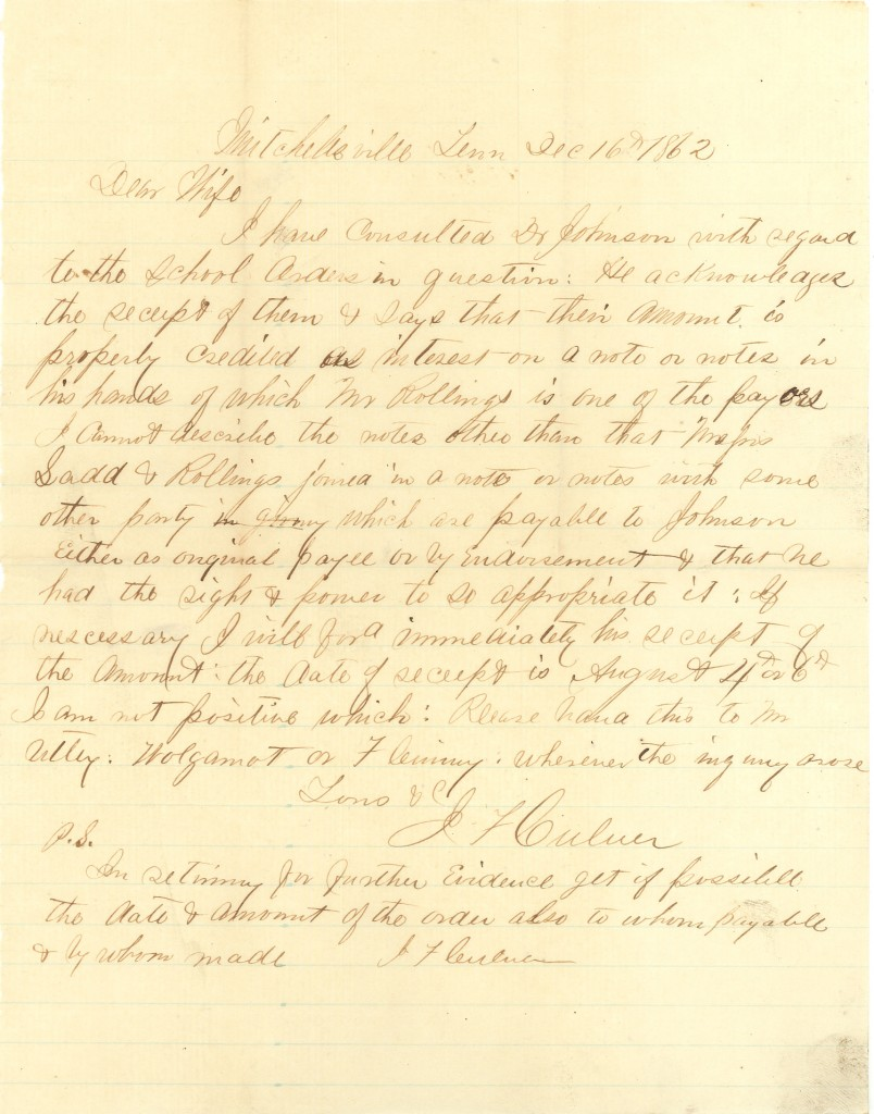 Joseph Culver Letter, December 16, 1862, Page 1