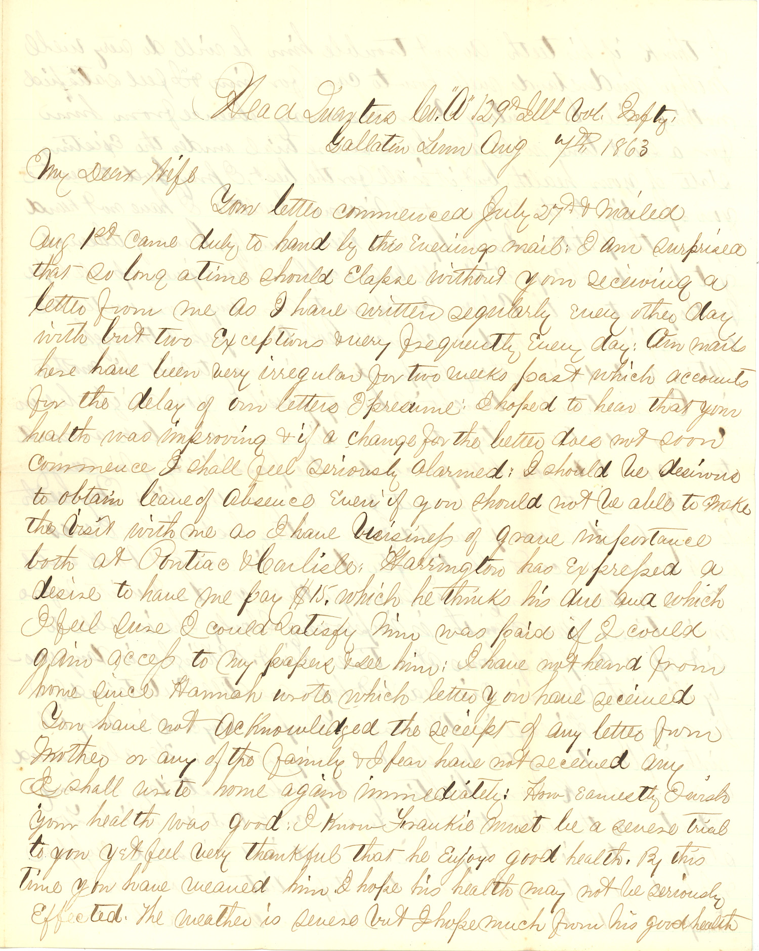 Joseph Culver Letter, August 7, 1863, Page 1