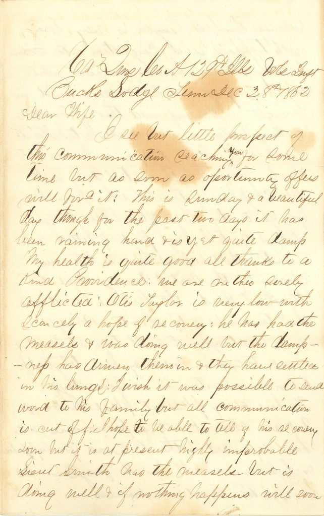 Joseph Culver Letter, December 28, 1862, Page 1