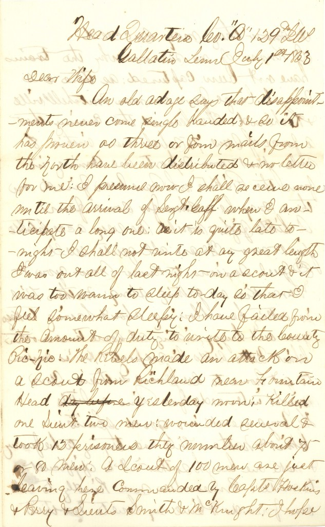 Joseph Culver Letter, July 1, 1863, Page 1