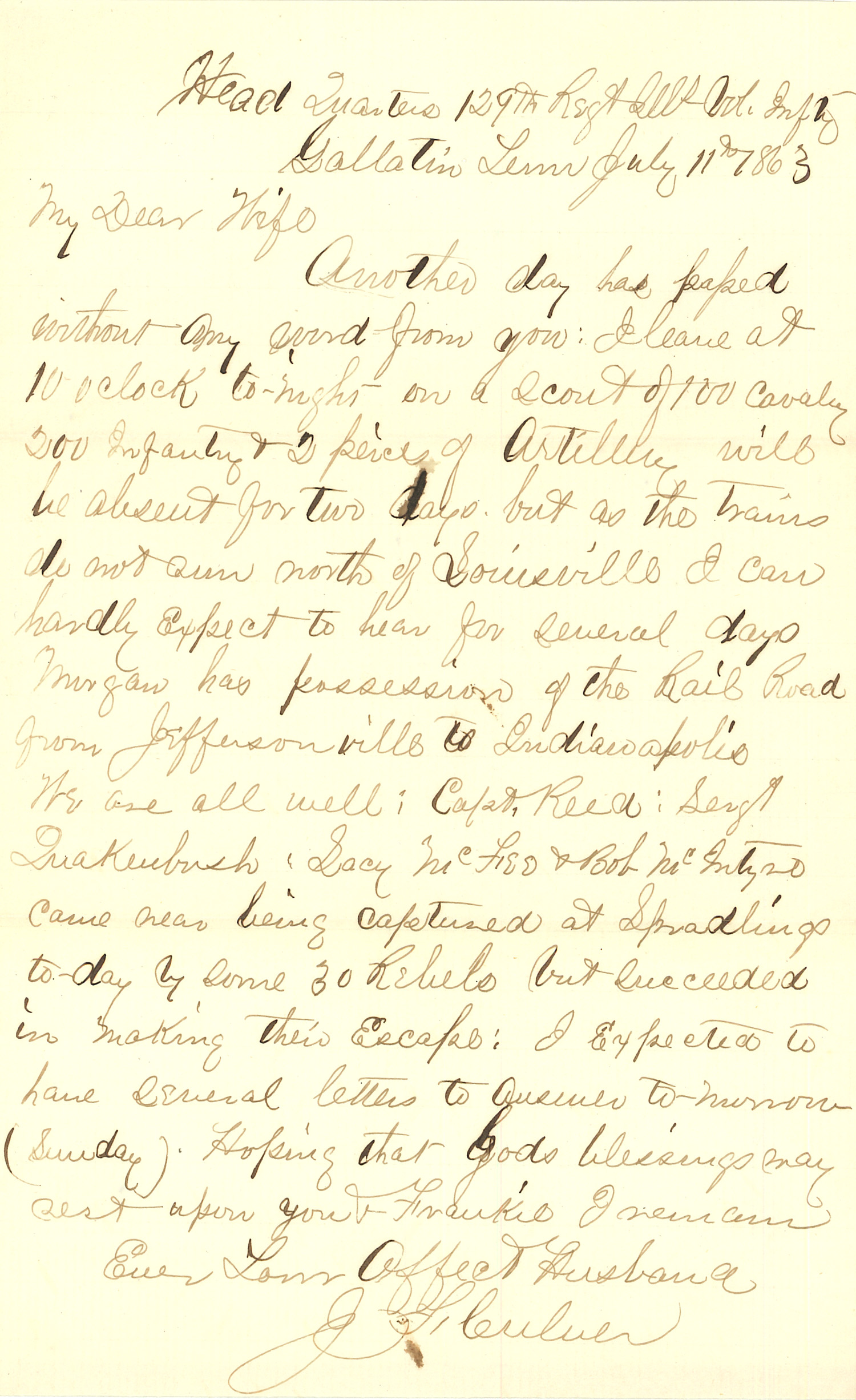 Joseph Culver Letter, July 11, 1863, Page 1