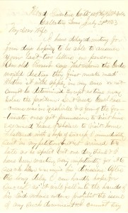 Joseph Culver Letter, July 21, 1863, Page 1