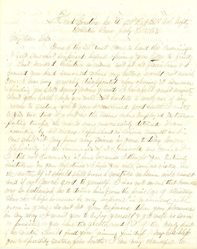Joseph Culver Letter, July 30, 1863, Page 1