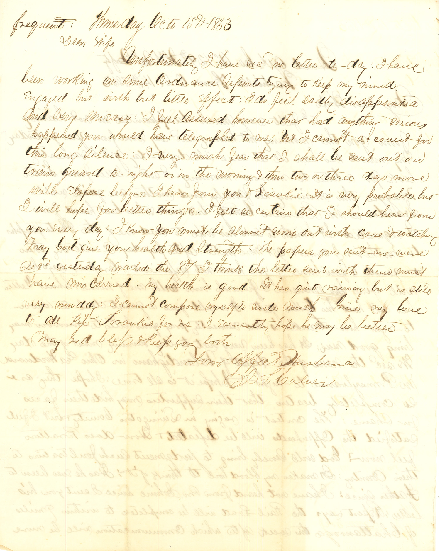 Joseph Culver Letter, October 15, 1863, Page 1