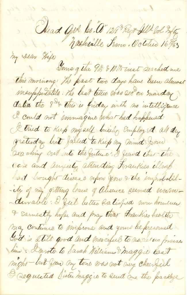 Joseph Culver Letter, October 16, 1863, Page 1