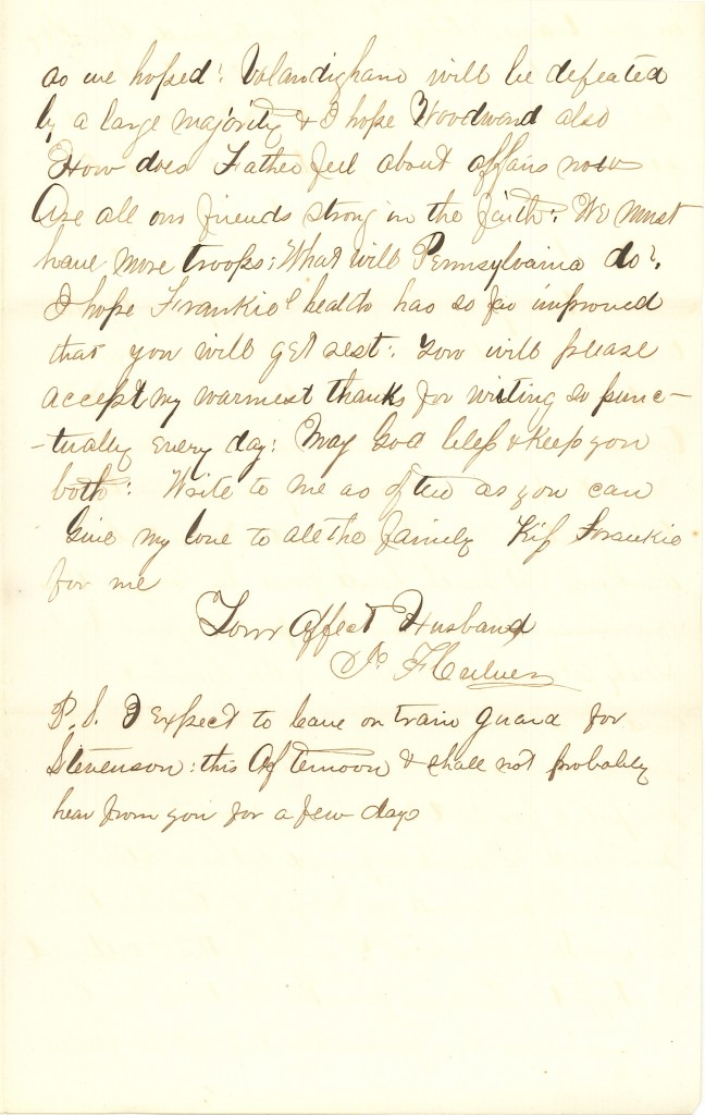 Joseph Culver Letter, October 16, 1863, Page 3