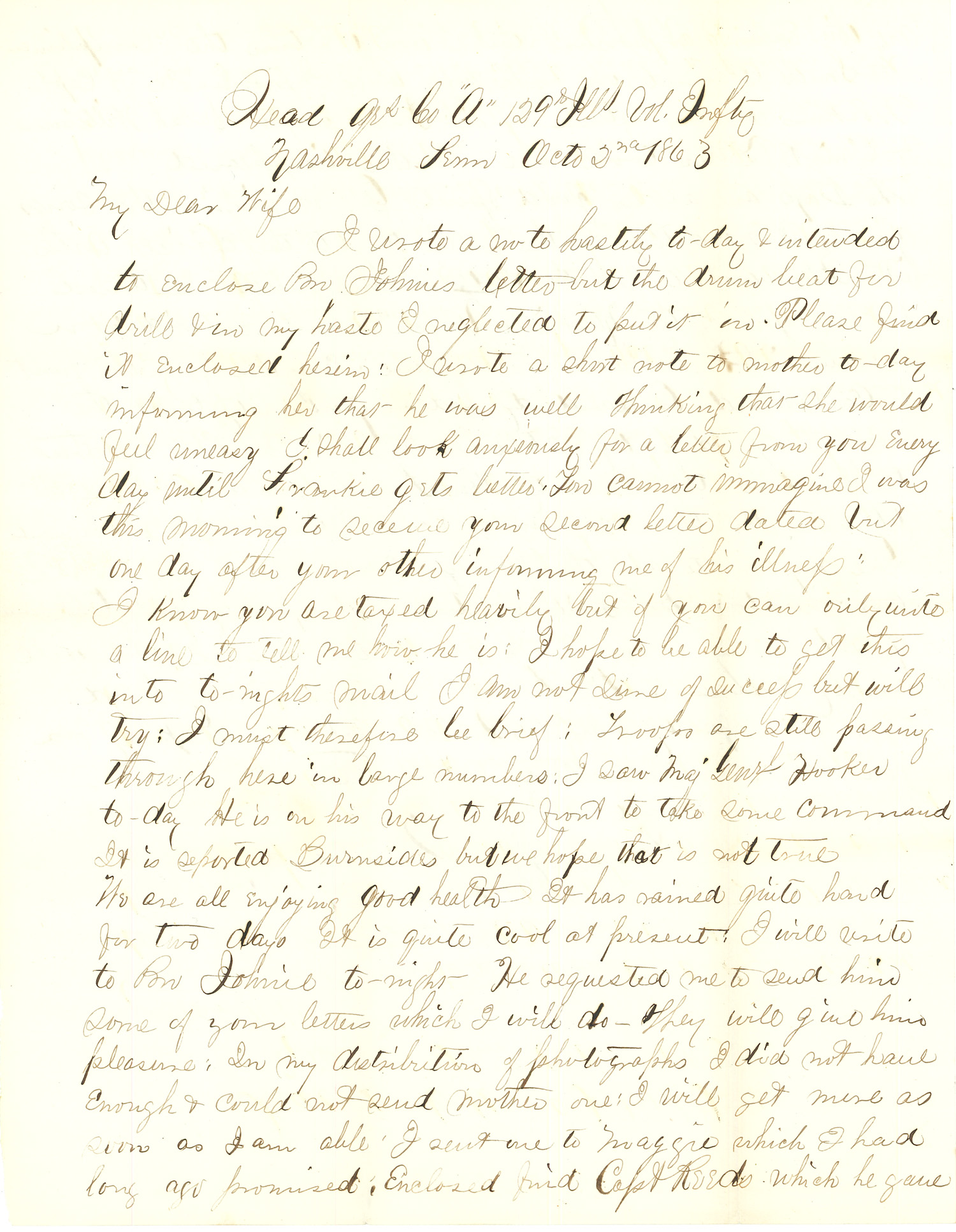 Joseph Culver Letter, October 2, 1863, Letter 2, Page 1