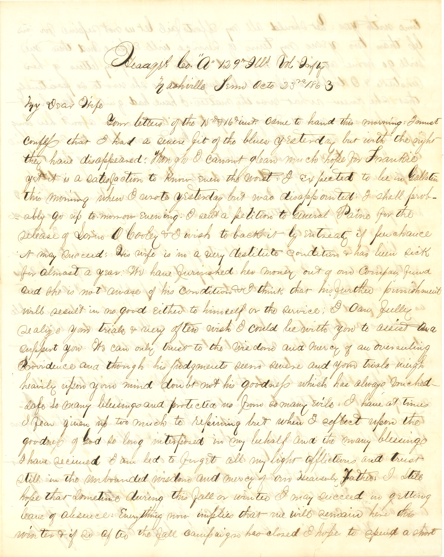 Joseph Culver Letter, October 23, 1863, Page 1