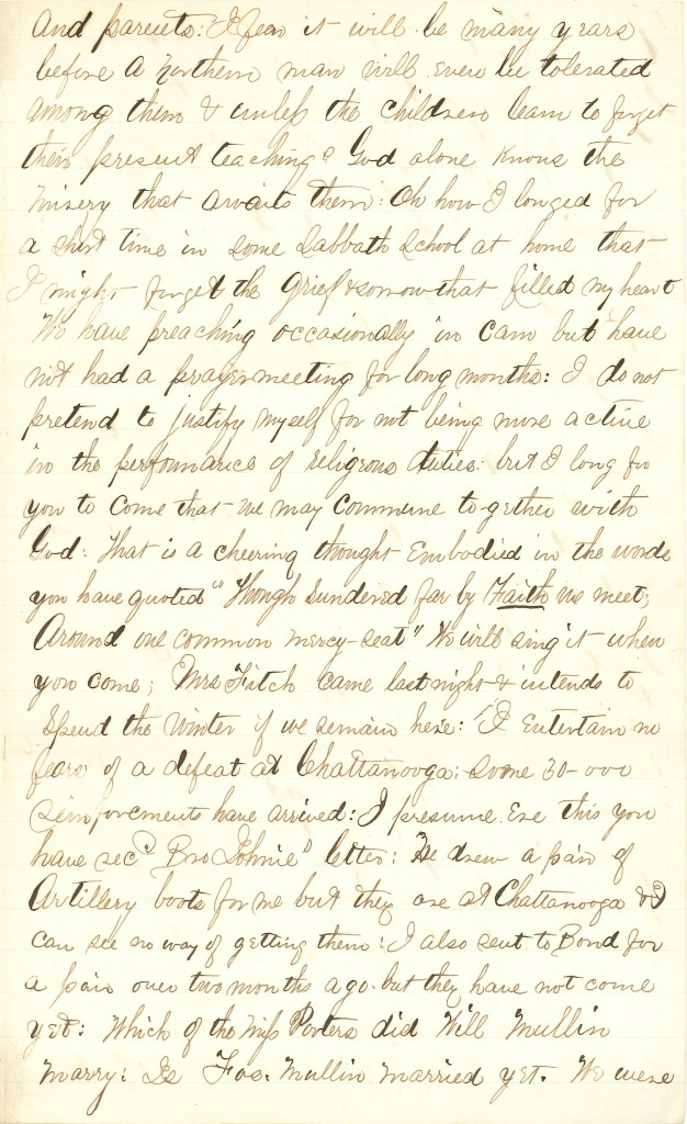 Joseph Culver Letter, October 5, 1863, Page 3