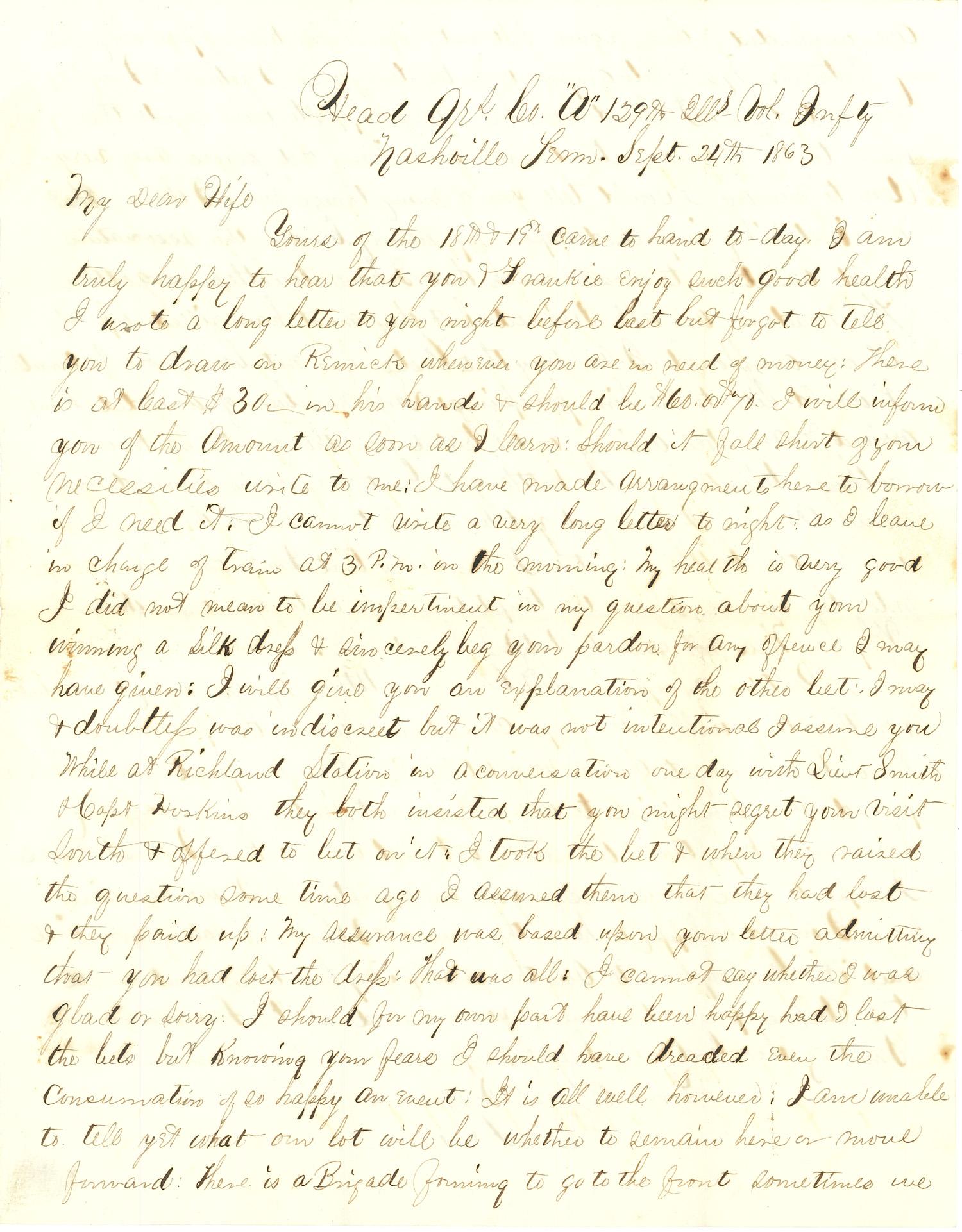 Joseph Culver Letter, September 24, 1863, Page 1