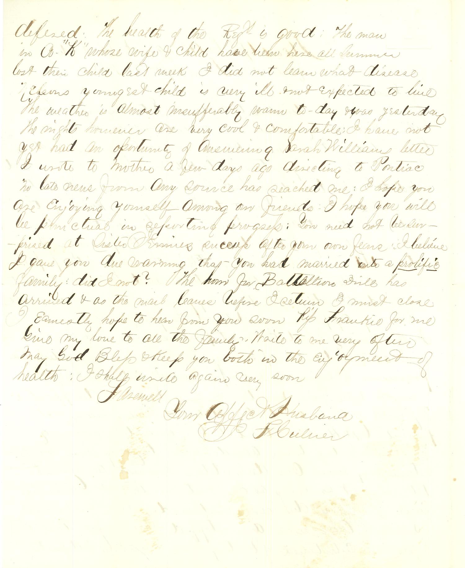 Joseph Culver Letter, September 7, 1863, Letter 2, Page 2