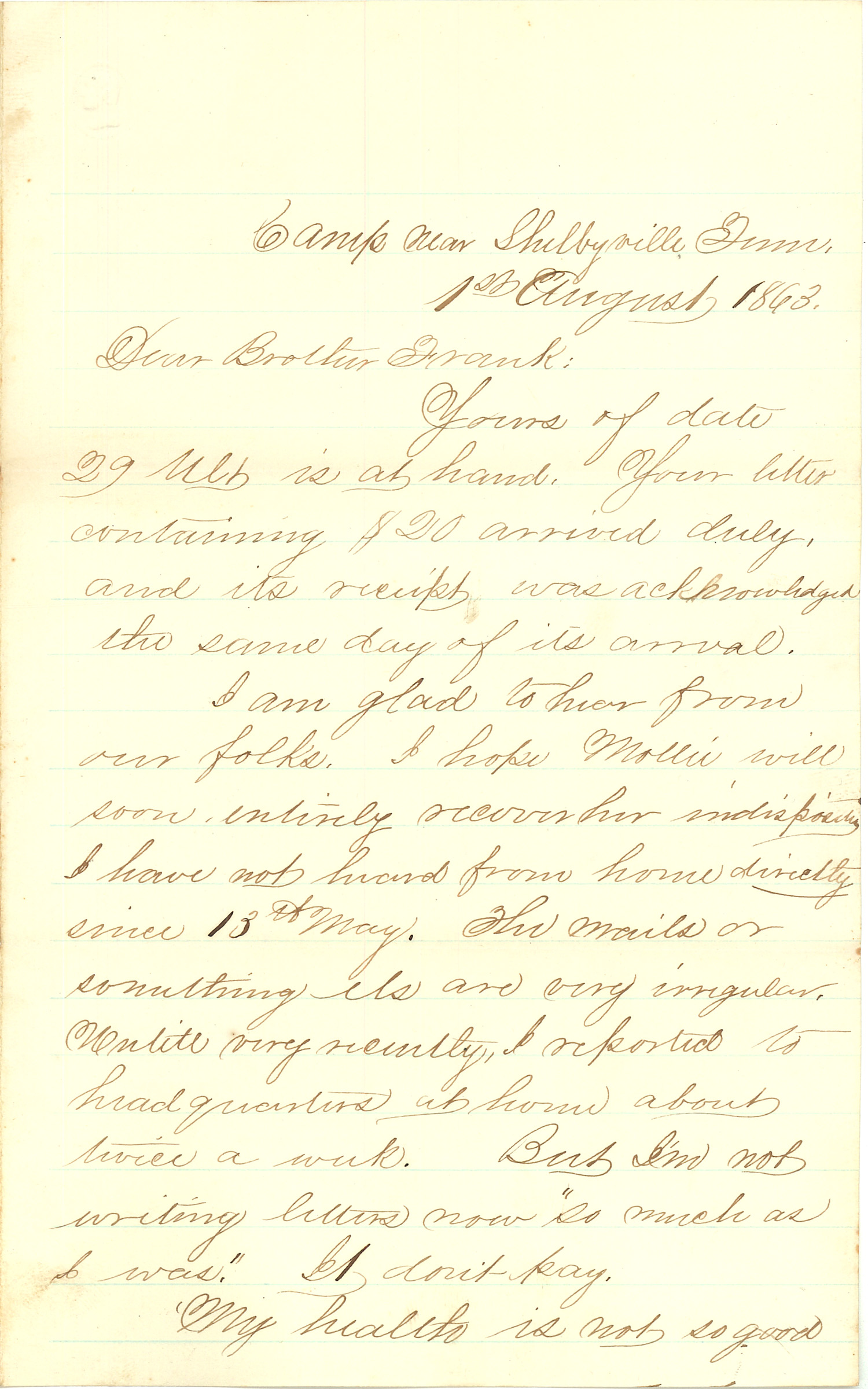 Joseph Culver Letter, August 1, 1863, Page 1