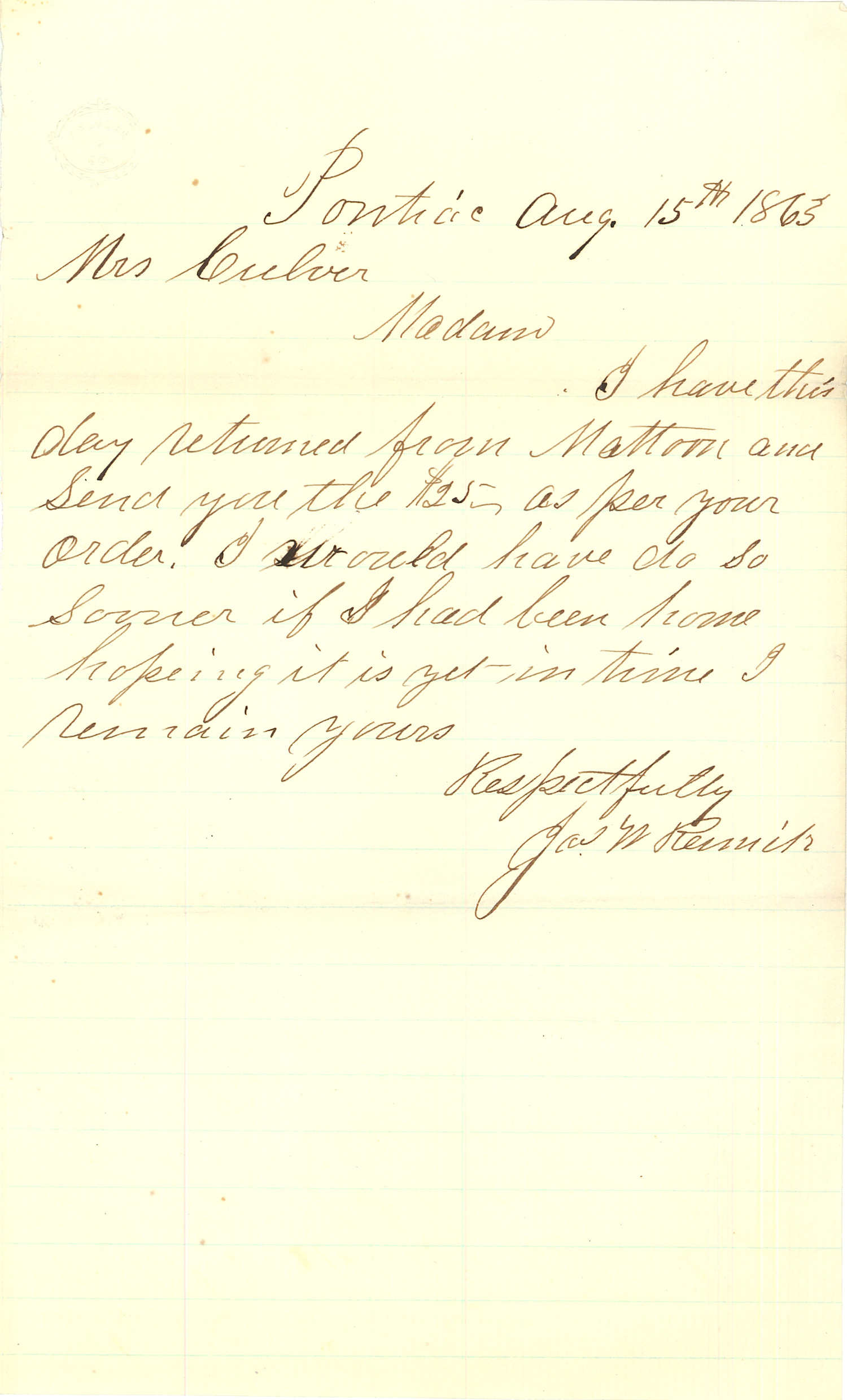 Joseph Culver Letter, August 15, 1863, Page 1