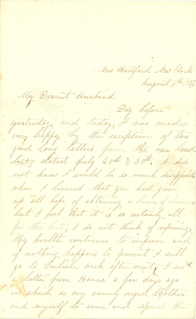 Joseph Culver Letter, August 6, 1863, Page 1