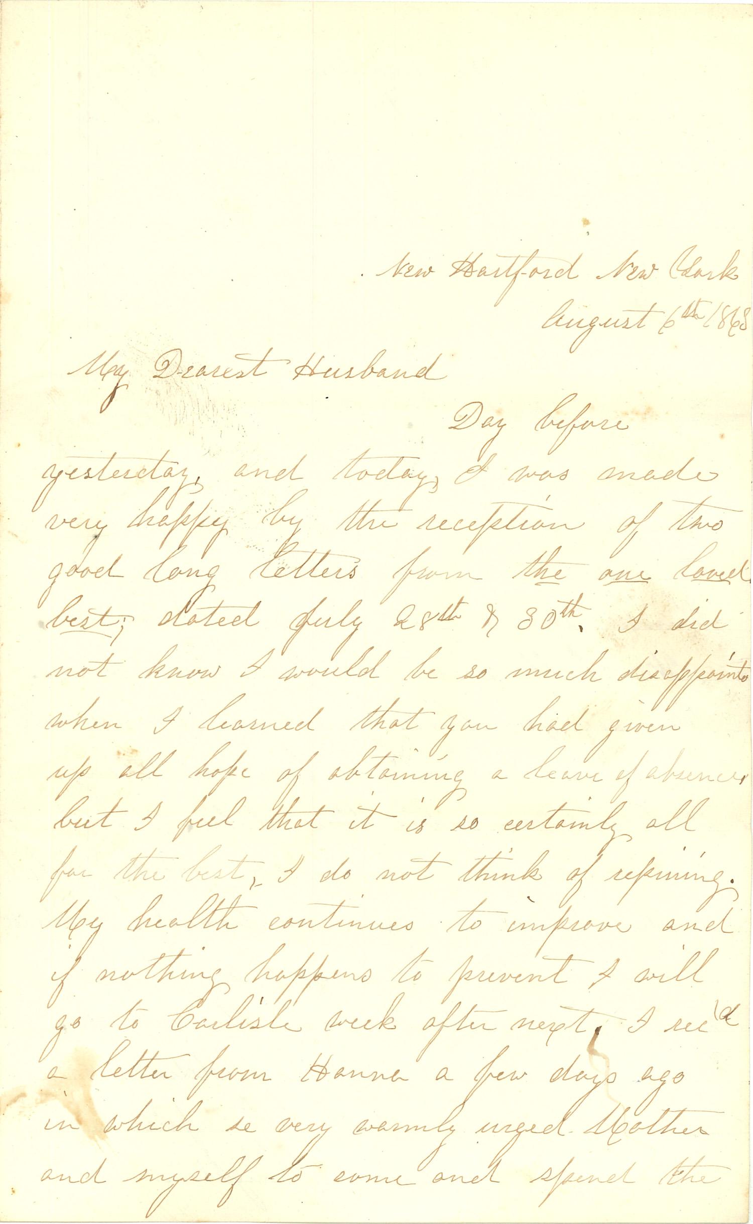 Joseph Culver Letter, August 6, 1863, Page 1