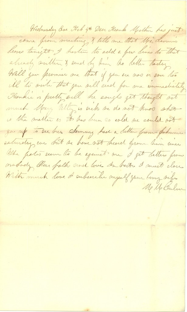 Joseph Culver Letter, February 1, 1863, Page 3