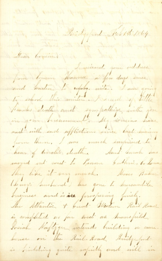Joseph Culver Letter, February 1, 1864, Letter 2, Page 1