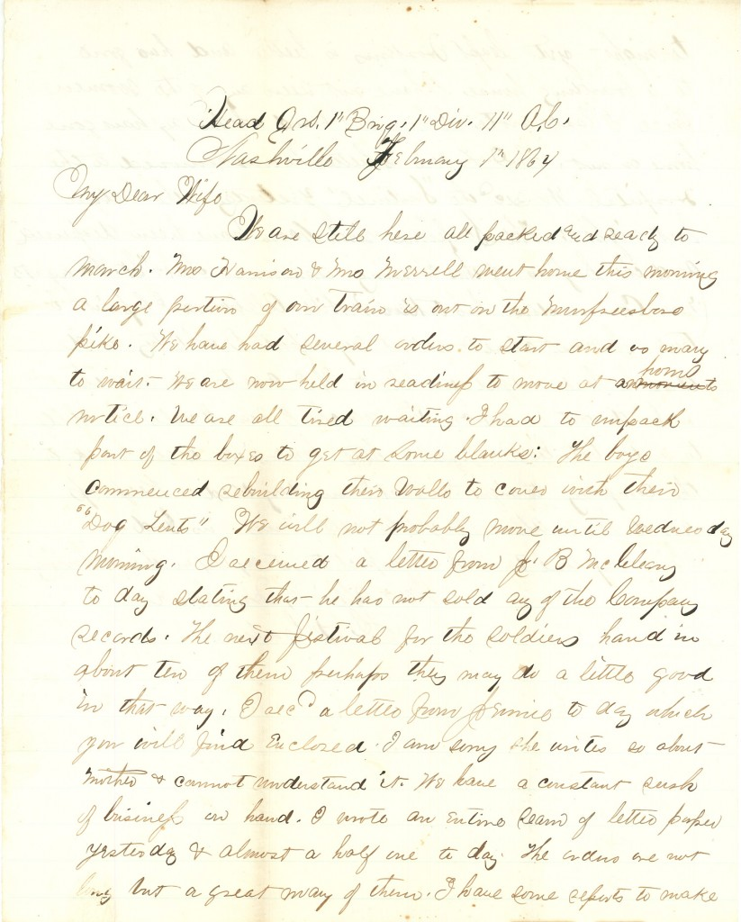 Joseph Culver Letter, February 1, 1864, Page 1