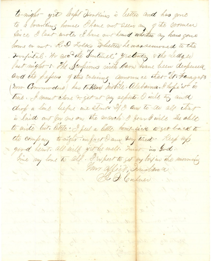 Joseph Culver Letter, February 1, 1864, Page 2