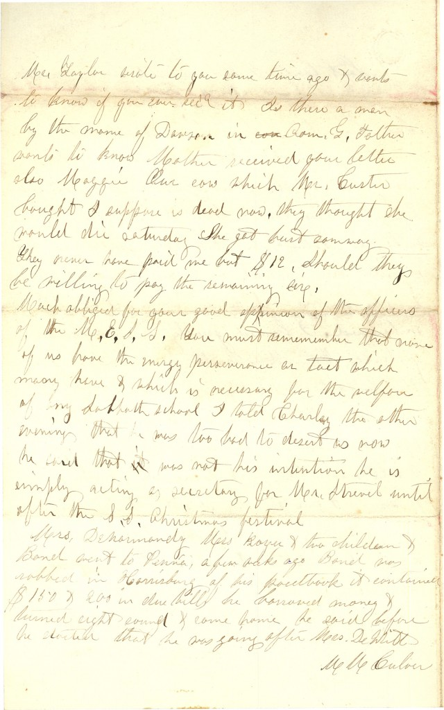 Joseph Culver Letter, January 23, 1863, Page 4