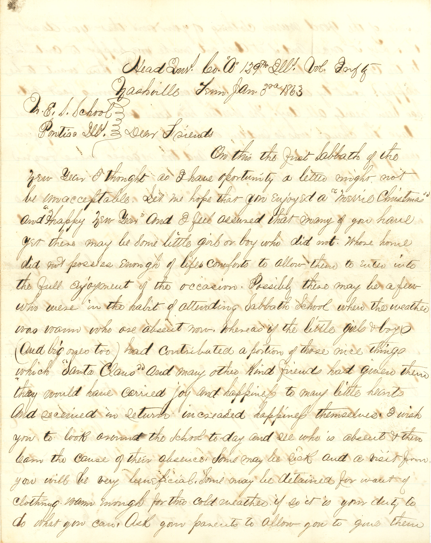 Joseph Culver Letter, January 3, 1863, Page 1