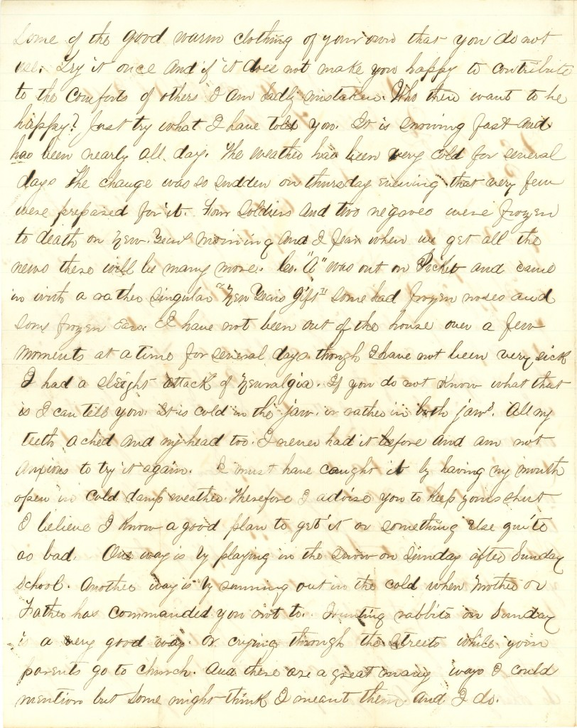 Joseph Culver Letter, January 3, 1863, Page 2