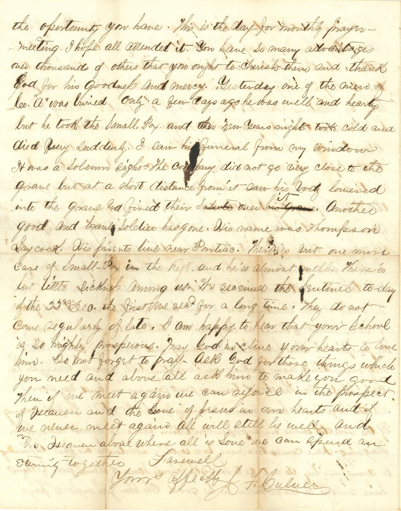 Joseph Culver Letter, January 3, 1863, Page 4