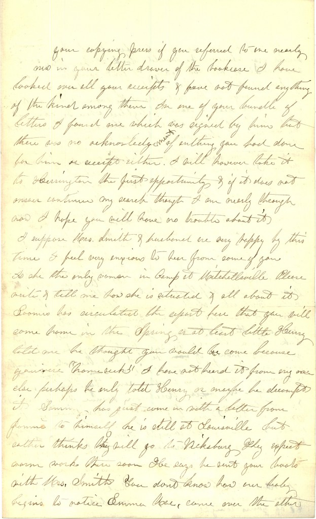 Joseph Culver Letter, January 31, 1863, Page 3