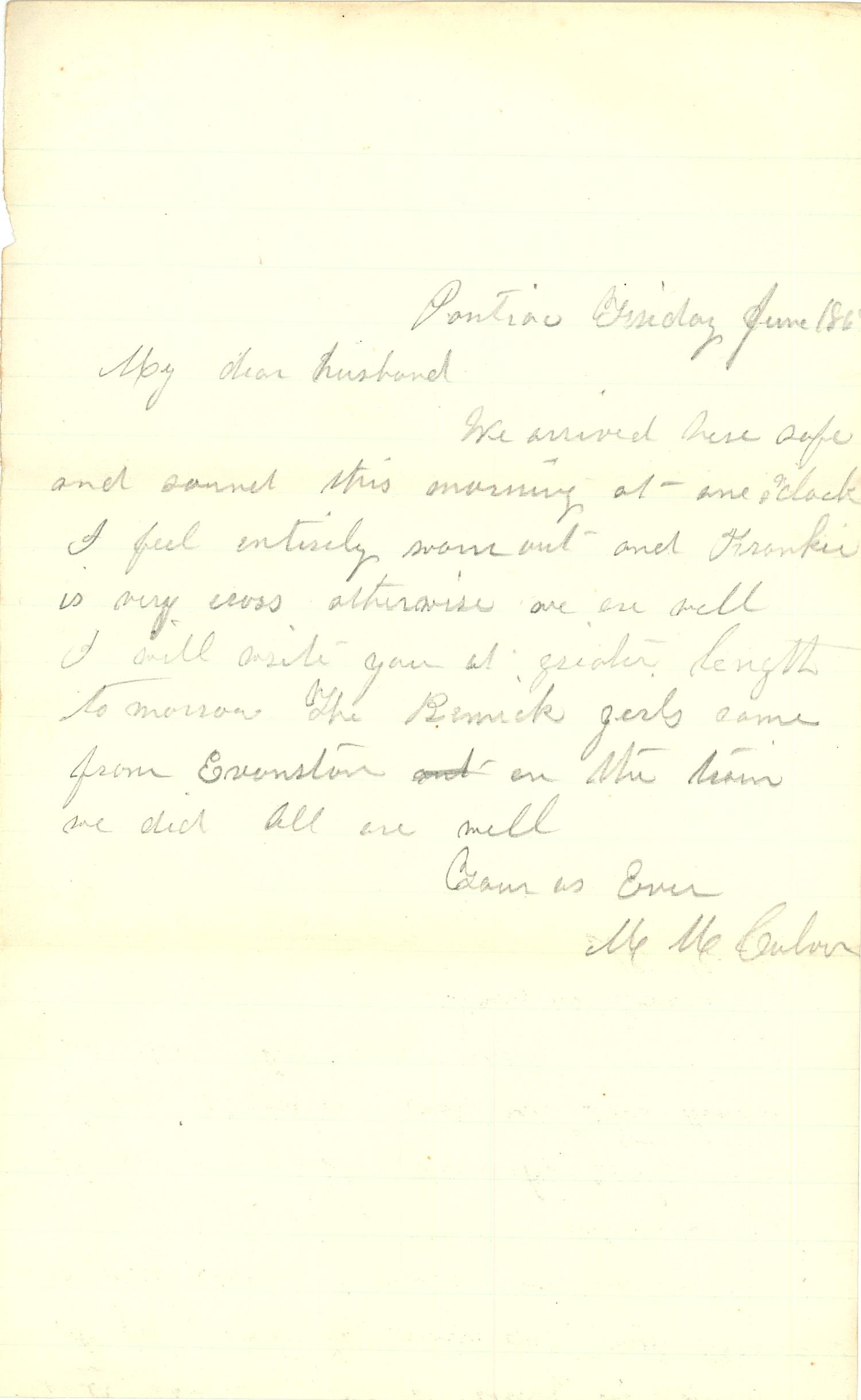 Joseph Culver Letter, June 1, 1863, Page 1