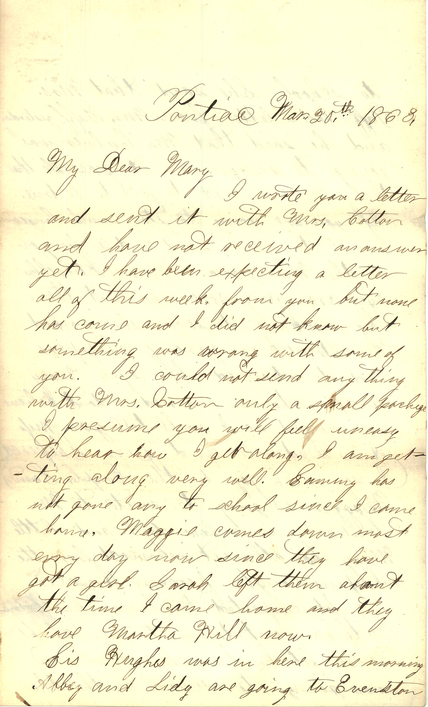 Joseph Culver Letter, March 20, 1863, Page 1