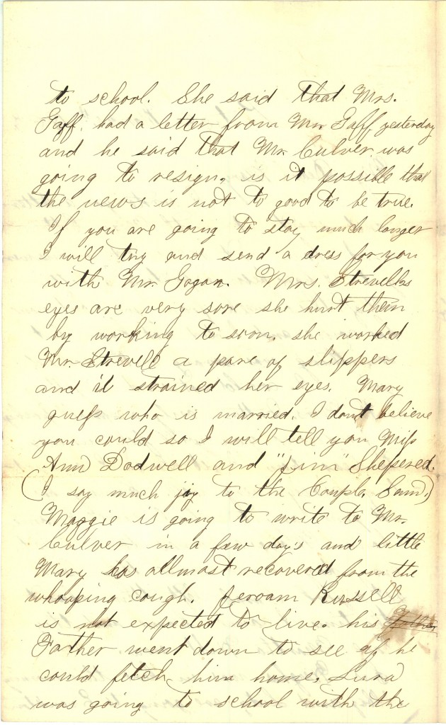 Joseph Culver Letter, March 20, 1863, Page 2