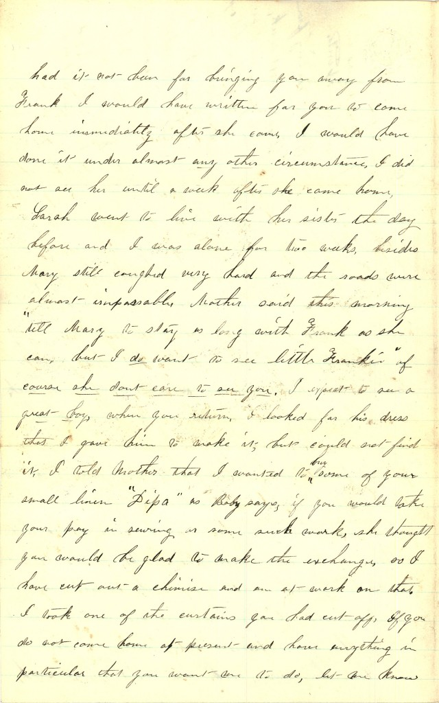 Joseph Culver Letter, March 26, 1863, Page 2