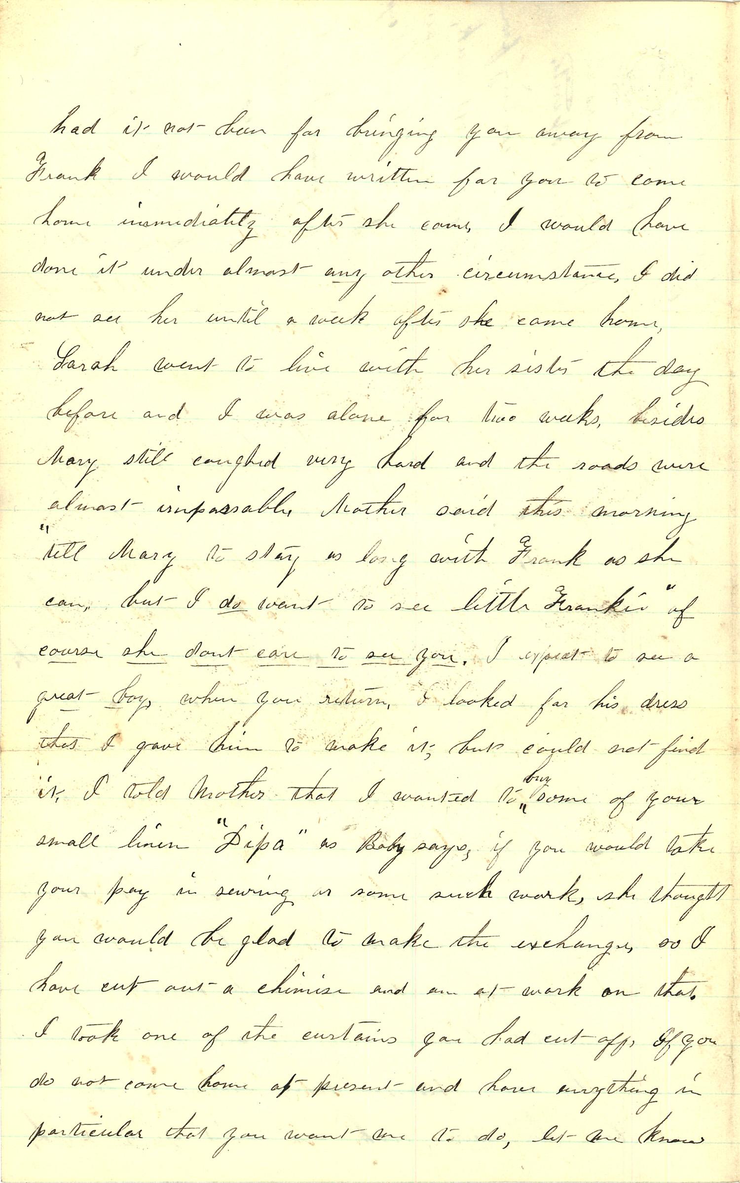 Joseph Culver Letter, March 26, 1863, Page 2