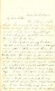 Joseph Culver Letter, March 8, 1863, Page 1