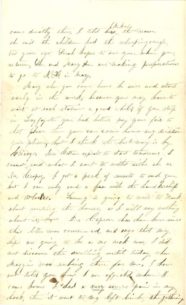 Joseph Culver Letter, March 8, 1863, Page 2