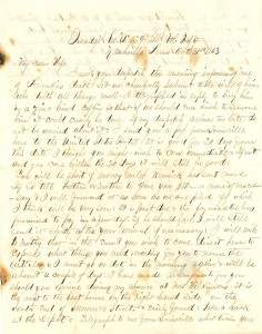 Joseph Culver Letter, October 31, 1863, Letter 2, Page 1
