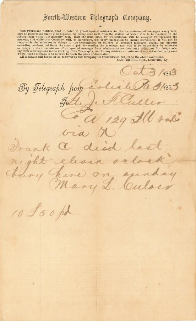 Joseph Culver Letter, October 31, 1863, Page 1 Telegram