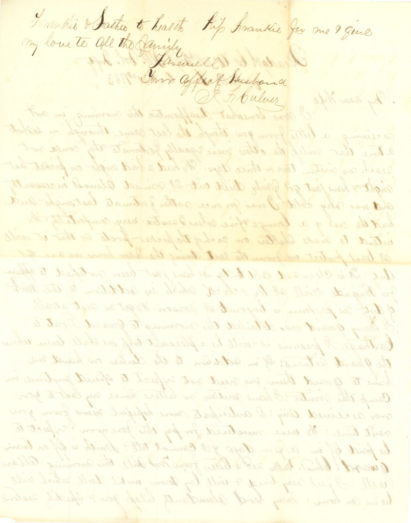 Joseph Culver Letter, October 31, 1863, Page 2