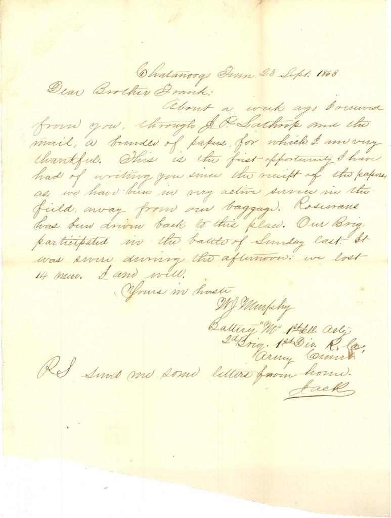 Joseph Culver Letter, September 25, 1863, Page 1