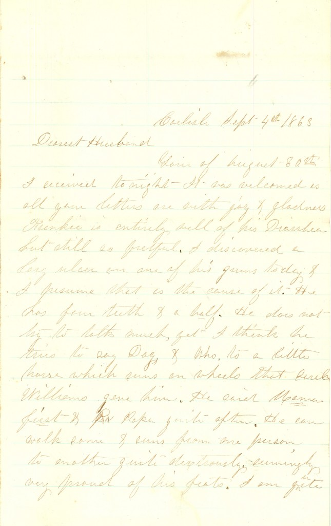 Joseph Culver Letter, September 4, 1863, Page 1