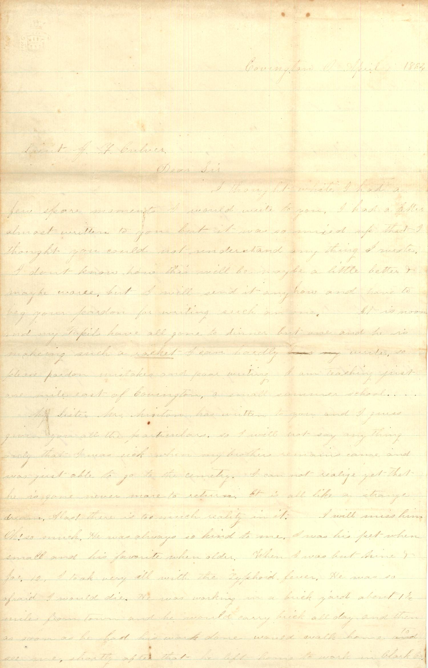 Joseph Culver Letter, April 1, 1864, Page 1
