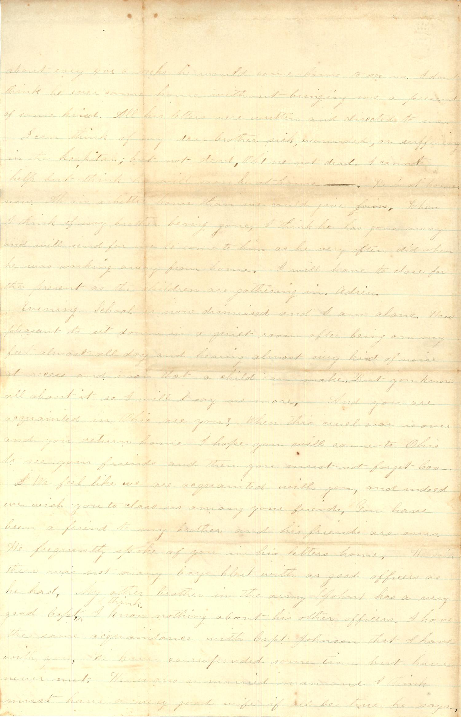 Joseph Culver Letter, April 1, 1864, Page 2