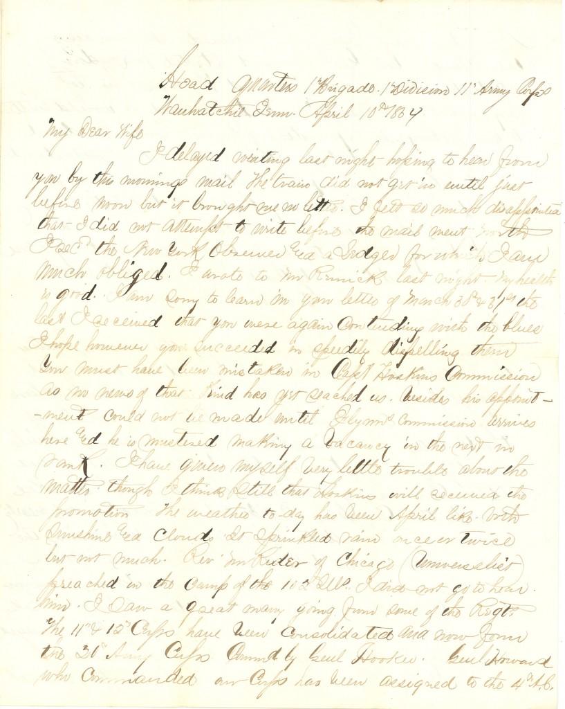 Joseph Culver Letter, April 10, 1864, Page 1