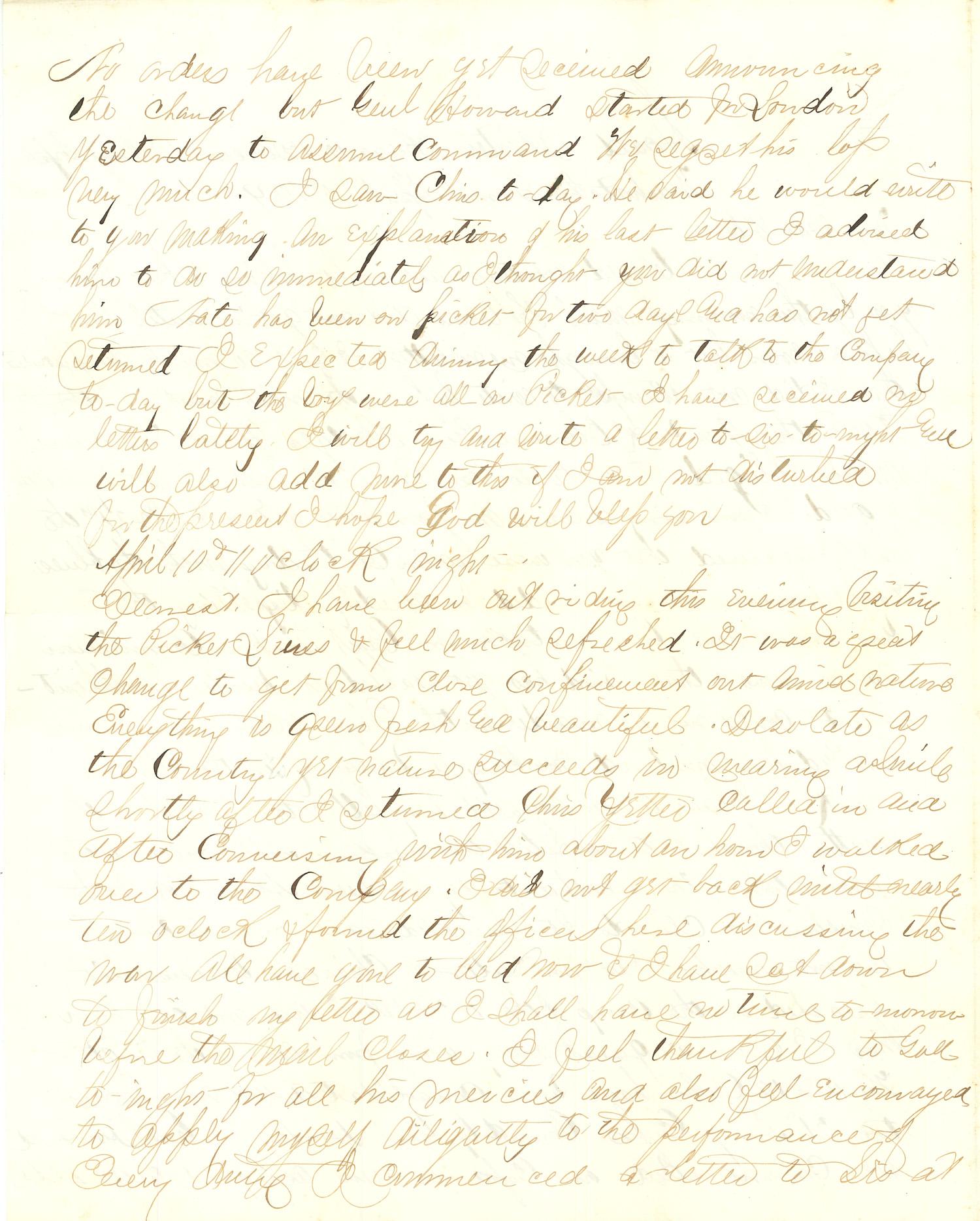 Joseph Culver Letter, April 10, 1864, Page 2