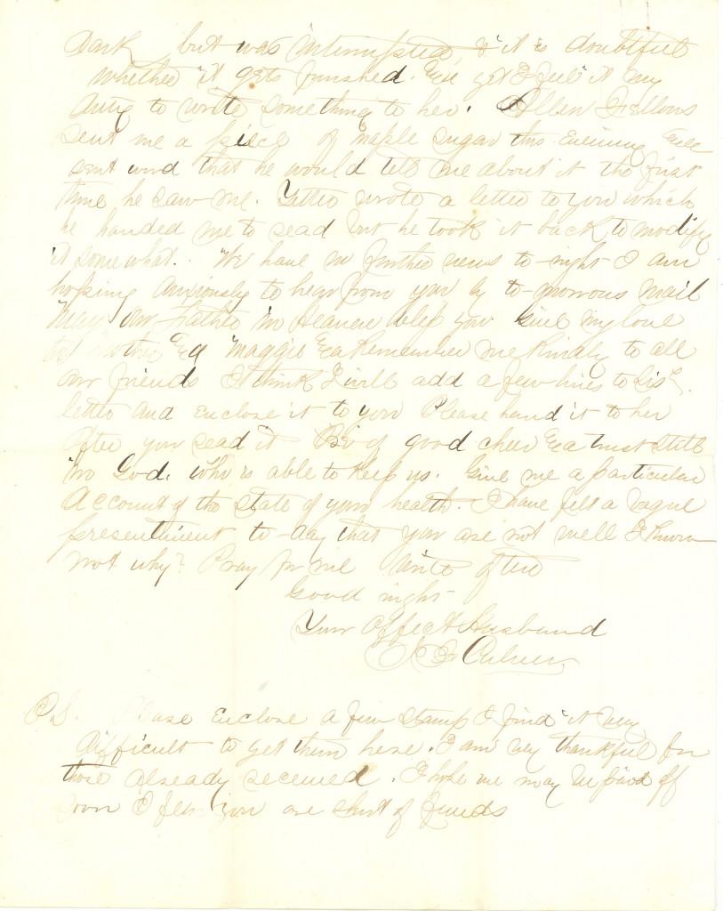Joseph Culver Letter, April 10, 1864, Page 3