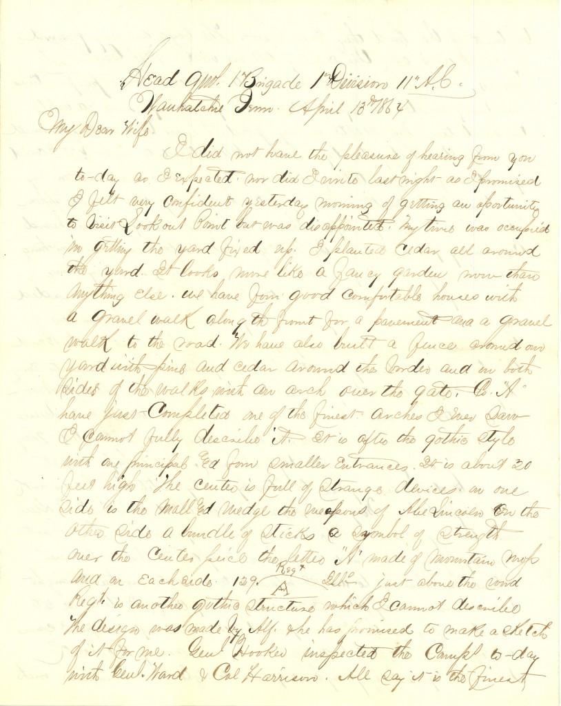 Joseph Culver Letter, April 13, 1864, Page 1